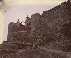 Exterior view of the Taragarh Fort walls and Gate, Ajmer